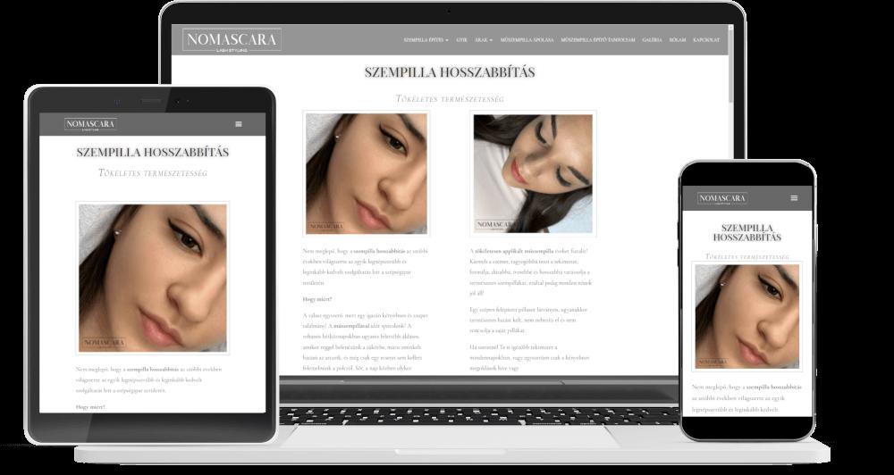 weboldalkészítés, ügyfélszerző rendszer készítés referencia nomascara.hu